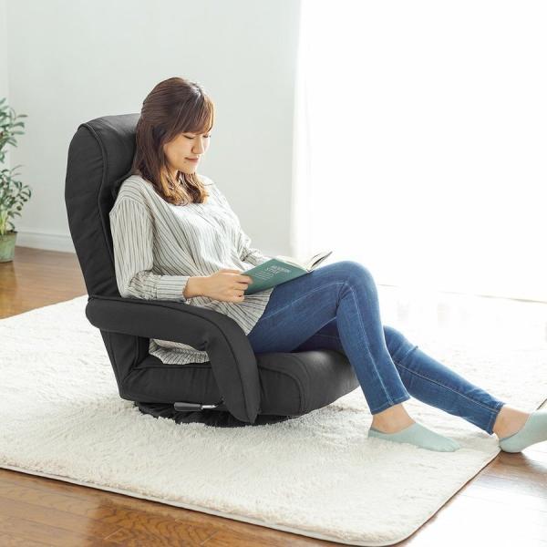 座椅子 リクライニング 回転座椅子 肘掛付き 肘付き おしゃれ 回転 座いす 座イス レバー式  ポケットコイル チェア フロアチェア|sanwadirect|18