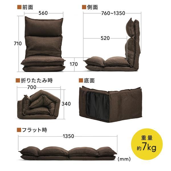 座椅子 座いす 座イス リクライニング 高反発 座椅子 ダブルクッション リラックスチェアー|sanwadirect|03
