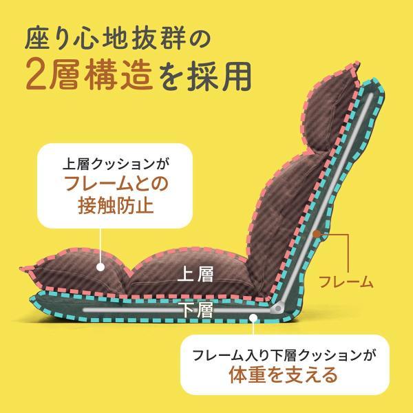 座椅子 座いす 座イス リクライニング 高反発 座椅子 ダブルクッション リラックスチェアー|sanwadirect|05