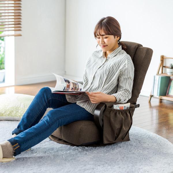 回転座椅子 360度回転 木製肘掛け 小物収納ポケット付き ハイバック仕様 ブラウン(即納)|sanwadirect|13