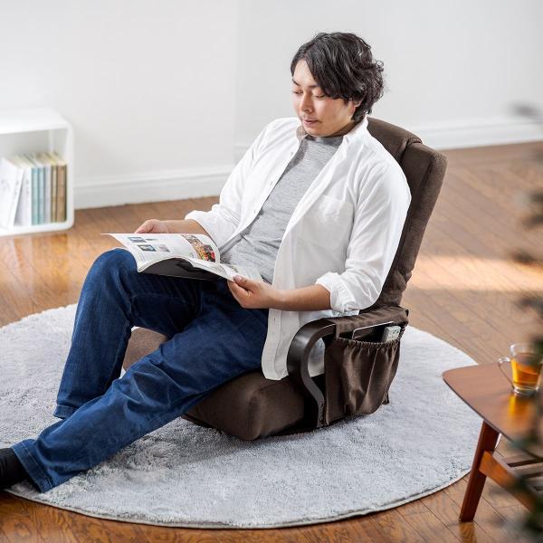 回転座椅子 360度回転 木製肘掛け 小物収納ポケット付き ハイバック仕様 ブラウン 完成品 sanwadirect 14
