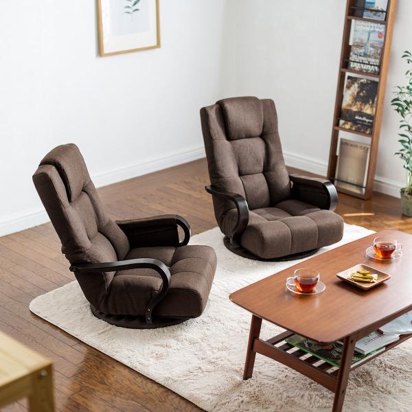 回転座椅子 360度回転 木製肘掛け 小物収納ポケット付き ハイバック仕様 ブラウン 完成品 sanwadirect 15