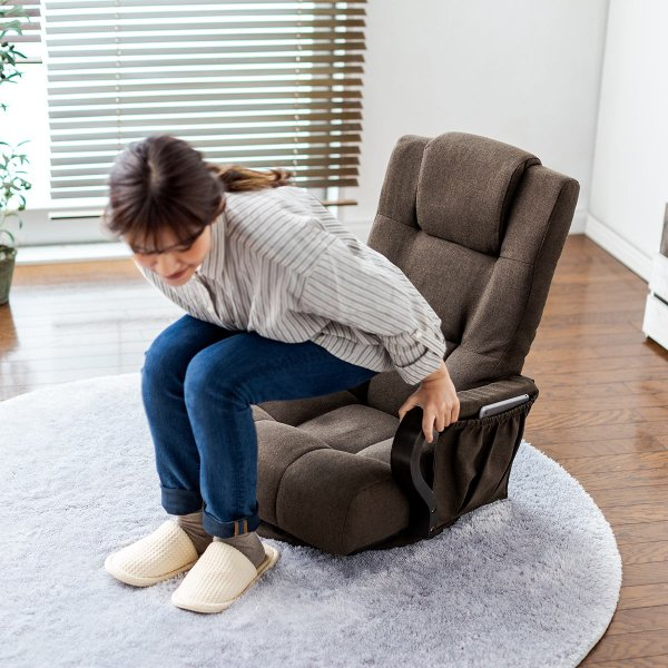 回転座椅子 360度回転 木製肘掛け 小物収納ポケット付き ハイバック仕様 ブラウン 完成品 sanwadirect 17