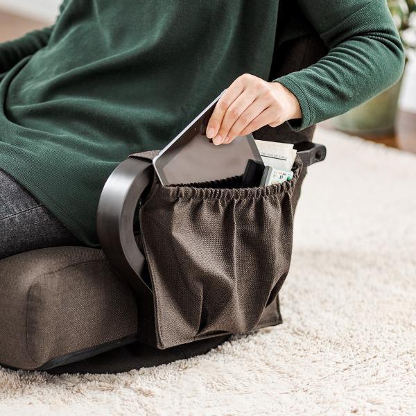 回転座椅子 360度回転 木製肘掛け 小物収納ポケット付き ハイバック仕様 ブラウン(即納)|sanwadirect|18