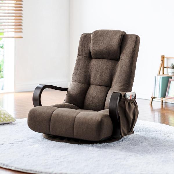 回転座椅子 360度回転 木製肘掛け 小物収納ポケット付き ハイバック仕様 ブラウン 完成品 sanwadirect 19