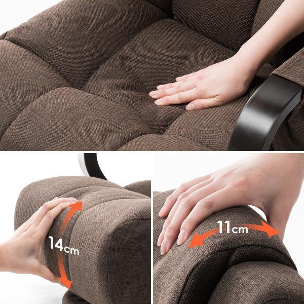 回転座椅子 360度回転 木製肘掛け 小物収納ポケット付き ハイバック仕様 ブラウン 完成品 sanwadirect 04