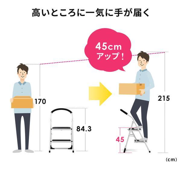 脚立 踏み台 2段 折りたたみ おしゃれ ステップ 折り畳み 耐荷重100kg(即納) sanwadirect 03