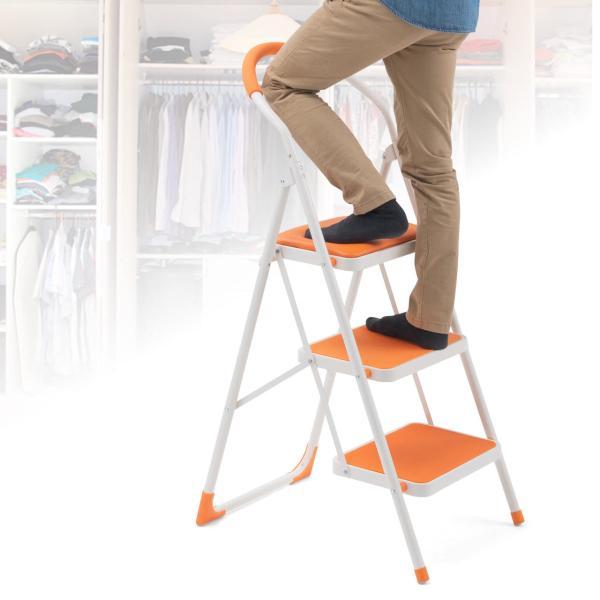 踏み台 折りたたみ 脚立 3段 椅子 おしゃれ 折り畳み 耐荷重100kg|sanwadirect|09