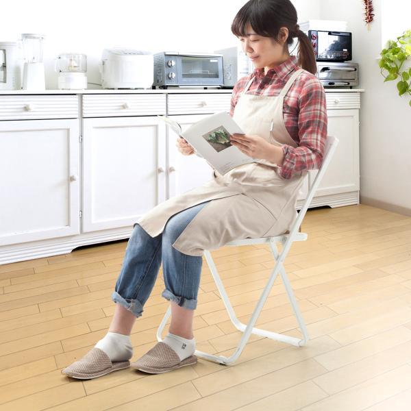 折りたたみ椅子 おしゃれ フォールディングチェア スタッキング可能 SLIM 1脚|sanwadirect|13