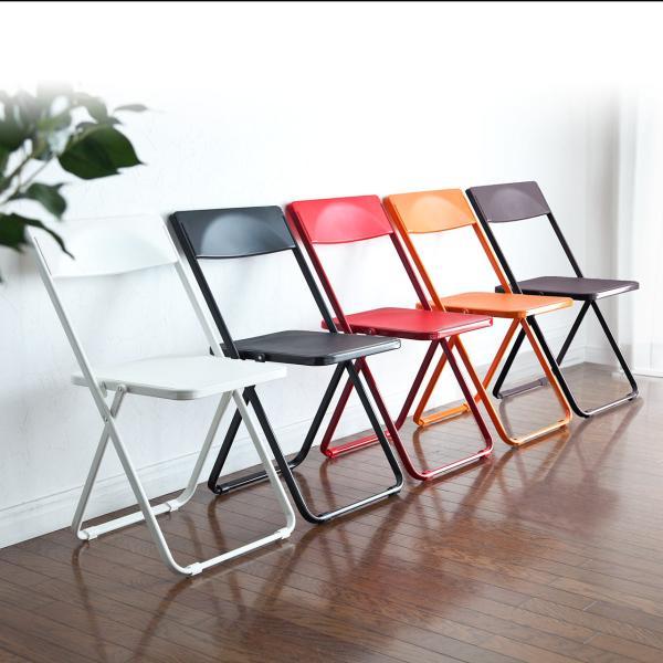 折りたたみ椅子 おしゃれ フォールディングチェア スタッキング可能 SLIM 1脚|sanwadirect|14