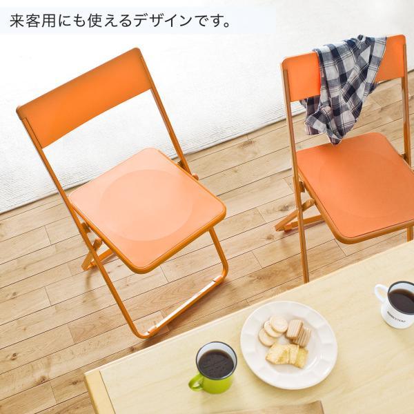 折りたたみ椅子 おしゃれ フォールディングチェア スタッキング可能 SLIM 1脚|sanwadirect|06