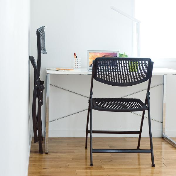 折りたたみ椅子 軽量 PP製 メッシュ加工 2脚セット|sanwadirect|08