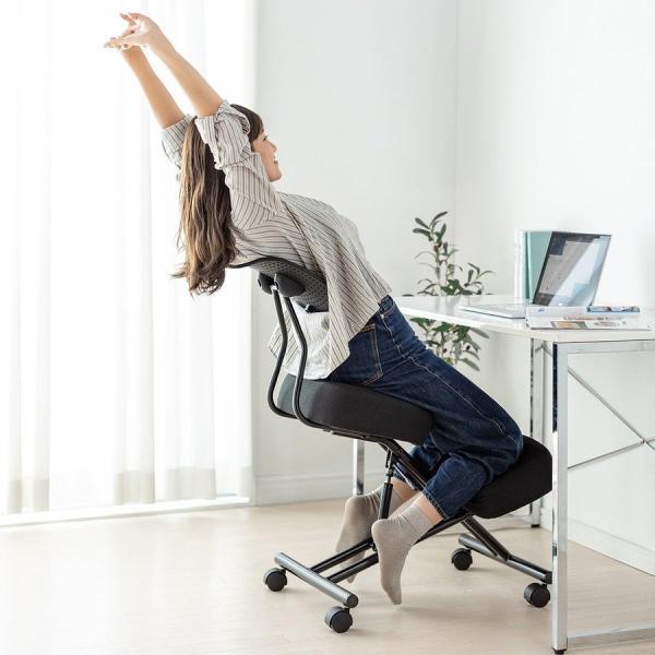 バランスチェア バランスチェアー ガス圧式 姿勢 矯正 椅子 大人 背もたれ付き(即納)|sanwadirect|14