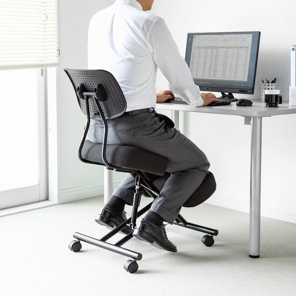 バランスチェア バランスチェアー ガス圧式 姿勢 矯正 椅子 大人 背もたれ付き(即納)|sanwadirect|15