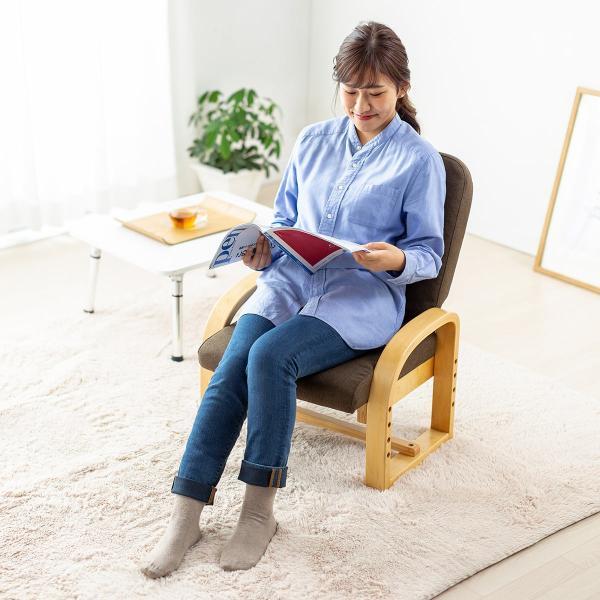 高座椅子 座椅子 椅子 リクライニング チェア 肘付き ひじ掛け付き ポケット付き 安楽椅子 コンパクト 座面 高さ調整 折りたたみ(即納)|sanwadirect|14
