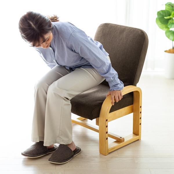 高座椅子 座椅子 椅子 リクライニング チェア 肘付き ひじ掛け付き ポケット付き 安楽椅子 コンパクト 座面 高さ調整 折りたたみ(即納)|sanwadirect|19