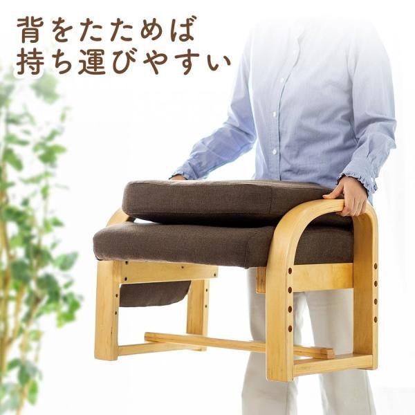 高座椅子 座椅子 椅子 リクライニング チェア 肘付き ひじ掛け付き ポケット付き 安楽椅子 コンパクト 座面 高さ調整 折りたたみ(即納)|sanwadirect|04