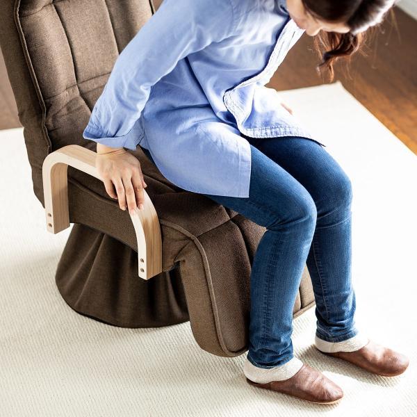 回転高座椅子 高座椅子 座椅子 座いす 座イス 椅子 リクライニング チェア 肘付き ひじ掛け付き ハイバック サイドポケット付き(即納) sanwadirect 17