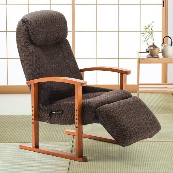 リクライニング高座椅子 安楽椅子 ハイバック仕様 オットマン内蔵 背もたれ8段階 オットマン14段階角度調整 ヘッドレスト サイドポケット付き ブラウン|sanwadirect|17
