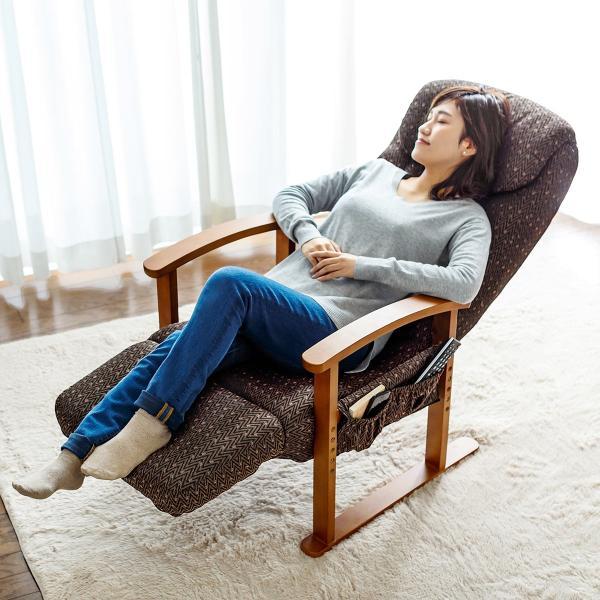 リクライニング高座椅子 安楽椅子 ハイバック仕様 オットマン内蔵 背もたれ8段階 オットマン14段階角度調整 ヘッドレスト サイドポケット付き ブラウン|sanwadirect|19