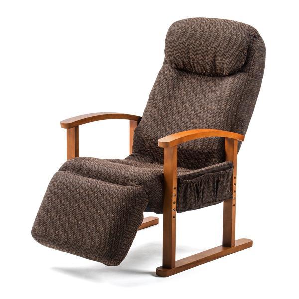 リクライニング高座椅子 安楽椅子 ハイバック仕様 オットマン内蔵 背もたれ8段階 オットマン14段階角度調整 ヘッドレスト サイドポケット付き ブラウン|sanwadirect|20