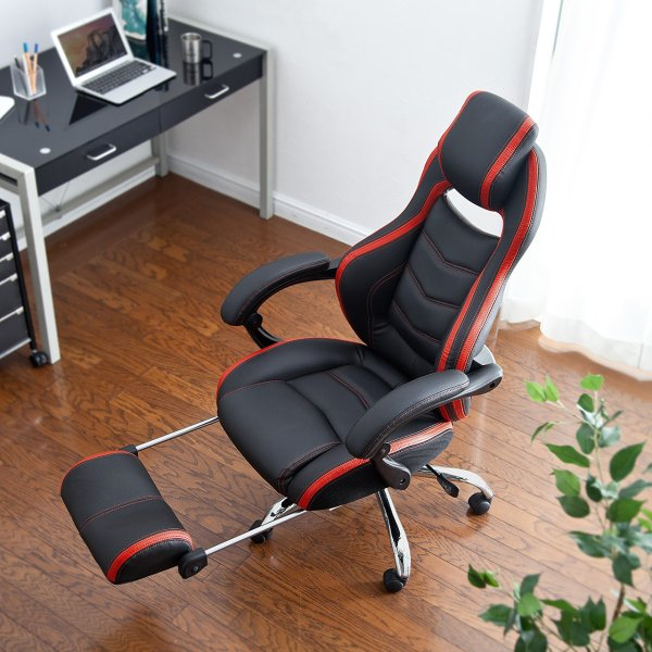 ゲーミングチェア リクライニング オットマン フットレスト デスクチェア パソコンチェア レーシングチェア オフィスチェア チェア 椅子 ハイバック(即納)|sanwadirect|19