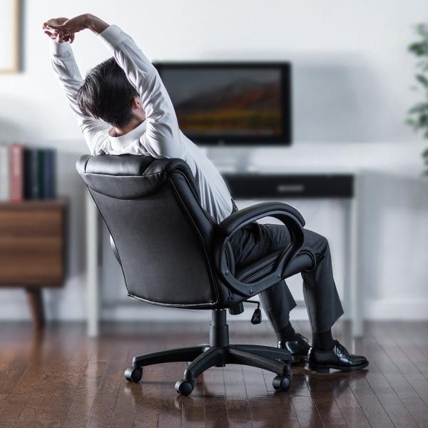 オフィスチェア 椅子 肘付き レザー キャスター付き チェアー|sanwadirect|12