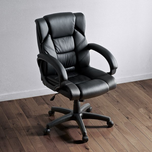 オフィスチェア 椅子 肘付き レザー キャスター付き チェアー|sanwadirect|13