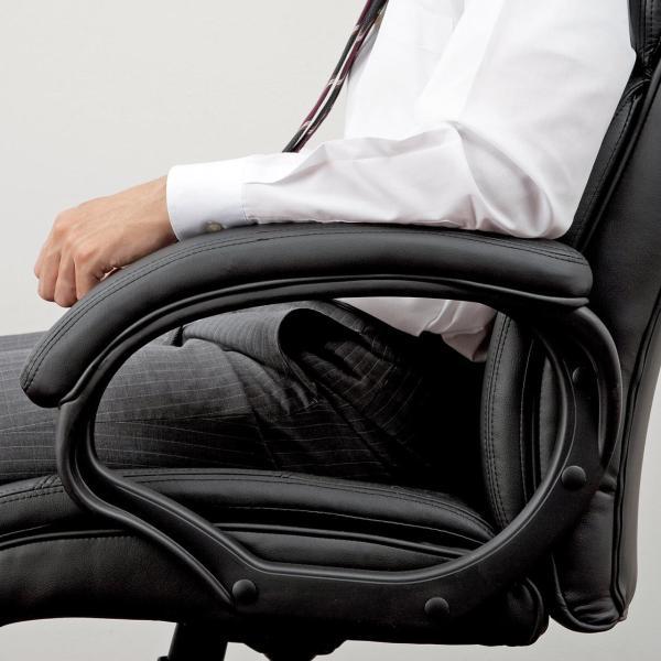 オフィスチェア 椅子 肘付き レザー キャスター付き チェアー|sanwadirect|16