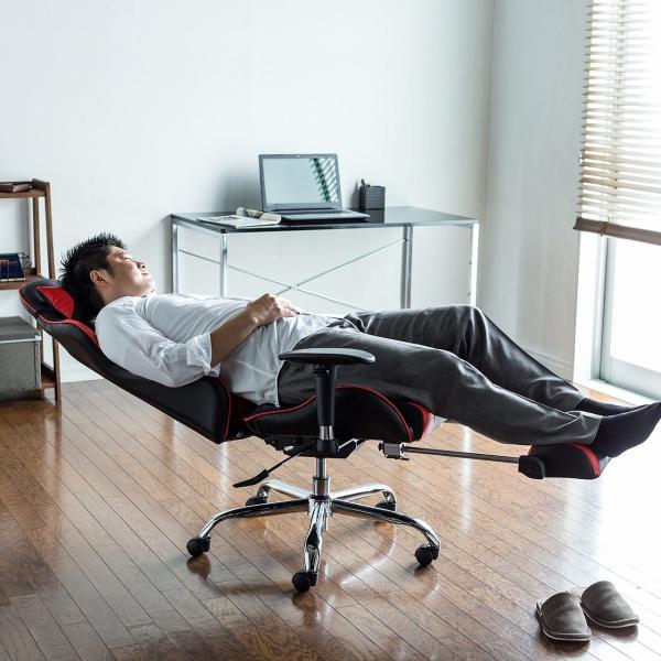 ゲーミングチェア リクライニングチェア オフィスチェア オットマン付き チェア 椅子 160°(即納)|sanwadirect|17