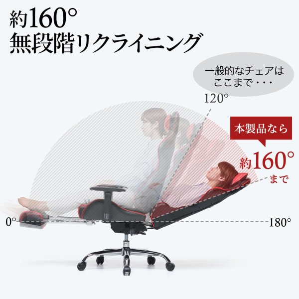 ゲーミングチェア リクライニングチェア オフィスチェア オットマン付き チェア 椅子 160°(即納)|sanwadirect|06