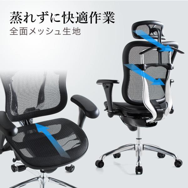 オフィスチェア メッシュチェア ハイバック メッシュ パソコンチェア 肘付き 椅子 イス|sanwadirect|02