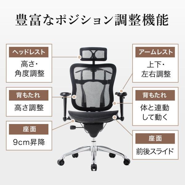 オフィスチェア メッシュチェア ハイバック メッシュ パソコンチェア 肘付き 椅子 イス|sanwadirect|03