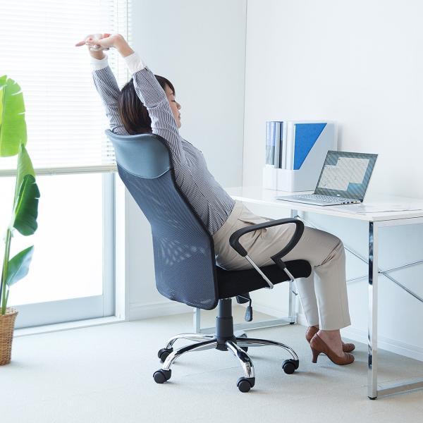 メッシュチェア ハイバック オフィスチェア パソコンチェア 肘付き 椅子 イス メッシュ|sanwadirect|08