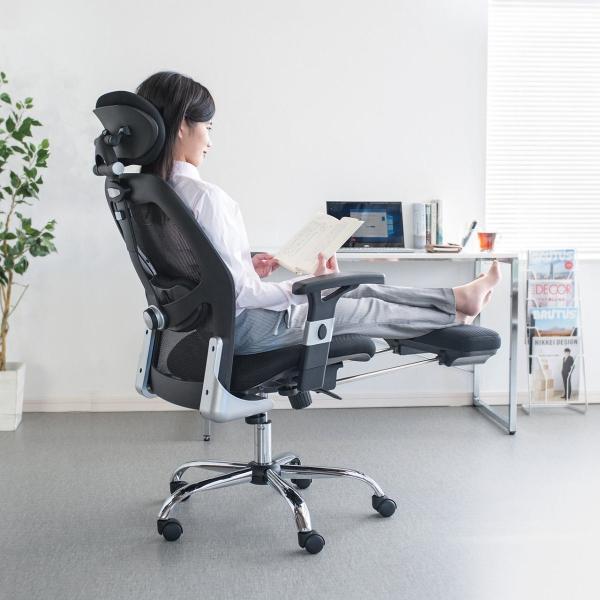 メッシュチェア ハイバック メッシュ チェア オットマン付き チェア 肘付き 椅子 イス(即納)|sanwadirect|12