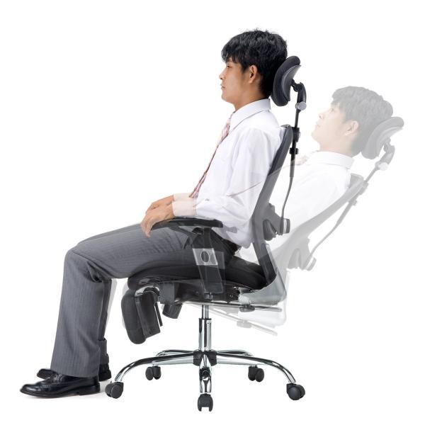 メッシュチェア ハイバック メッシュ チェア オットマン付き チェア 肘付き 椅子 イス(即納)|sanwadirect|13