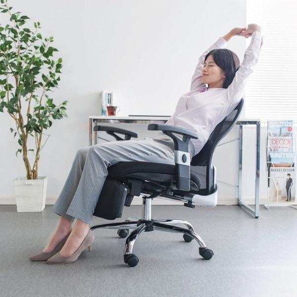 メッシュチェア ハイバック メッシュ チェア オットマン付き チェア 肘付き 椅子 イス(即納)|sanwadirect|18