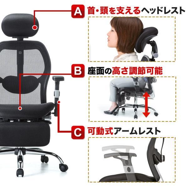 メッシュチェア ハイバック メッシュ チェア オットマン付き チェア 肘付き 椅子 イス(即納)|sanwadirect|08
