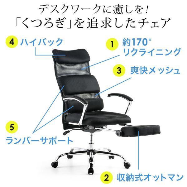 メッシュチェア リクライニングチェア オットマン付き ハイバック 椅子 イス メッシュ|sanwadirect|04