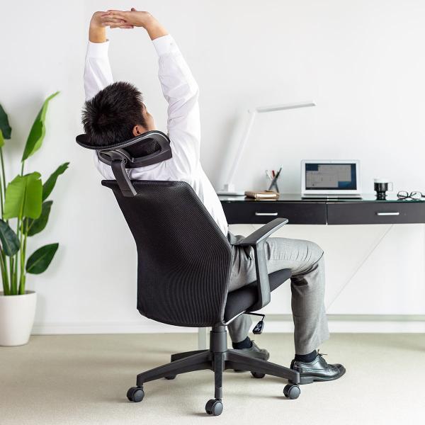 オフィスチェア メッシュ ハイバック パソコンチェア メッシュチェア ロッキング ヘッドレスト 肘掛け付き 肘付き チェアー(即納)|sanwadirect|16
