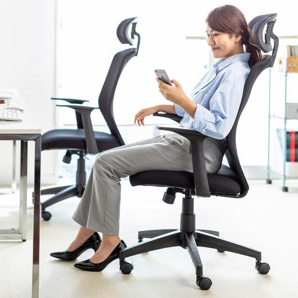 オフィスチェア メッシュ ハイバック パソコンチェア メッシュチェア ロッキング ヘッドレスト 肘掛け付き 肘付き チェアー(即納)|sanwadirect|17