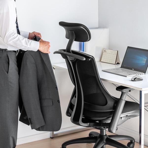 メッシュチェア ハンガー付き チェア 椅子 ハンガー パソコンチェア オフィスチェア ハイバック 肘掛け ロッキング 耐荷重100kg(即納)|sanwadirect|18