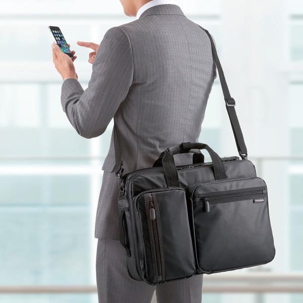 ビジネスバッグ メンズ 3way 簡易防水 耐水 大容量 リュック 軽量 ビジネスバック 通勤 出張 ビジネスリュック 鞄 カバン 3WAYバッグ PC対応(即納)|sanwadirect|13