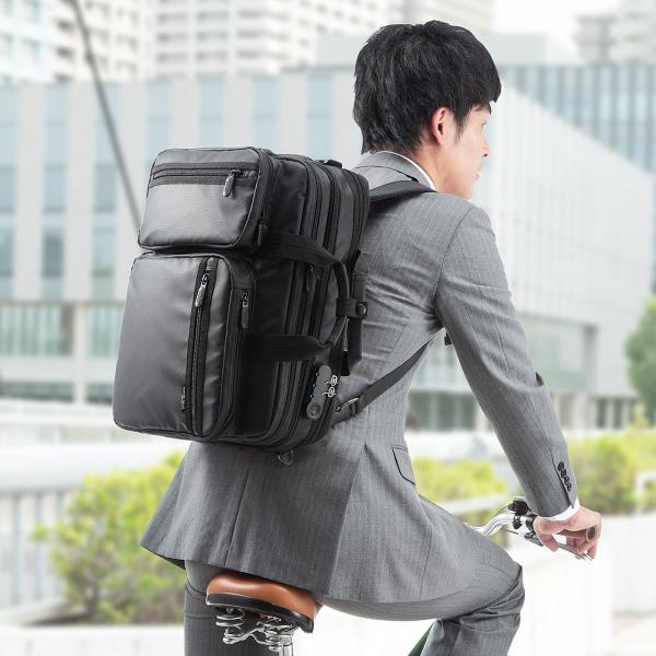 ビジネスバッグ メンズ 3way 簡易防水 耐水 大容量 リュック 軽量 ビジネスバック 通勤 出張 ビジネスリュック 鞄 カバン 3WAYバッグ PC対応(即納)|sanwadirect|14