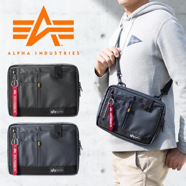 サコッシュ メンズ 2wayバッグ ショルダー バッグ 簡易防水 耐水 斜めがけ 肩掛け 軽量 薄型 ALPHA アルファ ショルダーバッグ(即納)|sanwadirect