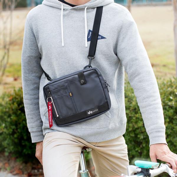 サコッシュ メンズ 2wayバッグ ショルダー バッグ 簡易防水 耐水 斜めがけ 肩掛け 軽量 薄型 ALPHA アルファ ショルダーバッグ(即納)|sanwadirect|16