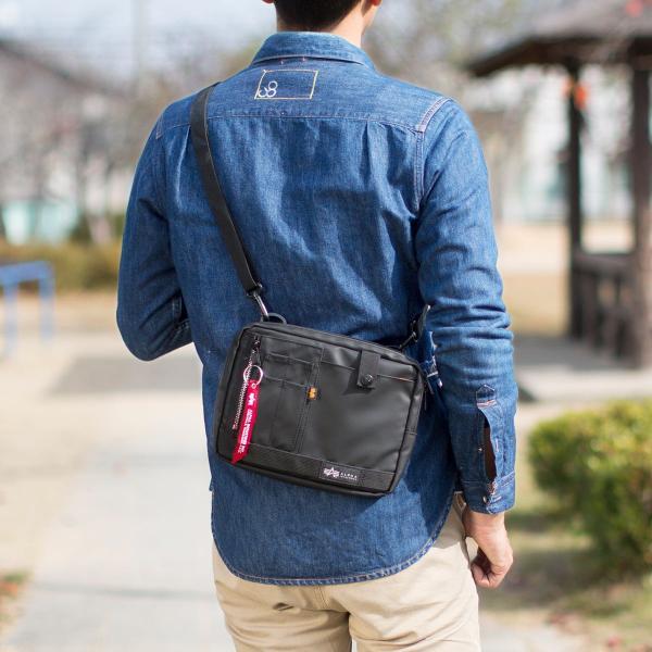 サコッシュ メンズ 2wayバッグ ショルダー バッグ 簡易防水 耐水 斜めがけ 肩掛け 軽量 薄型 ALPHA アルファ ショルダーバッグ(即納)|sanwadirect|19