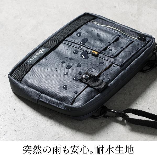 サコッシュ メンズ 2wayバッグ ショルダー バッグ 簡易防水 耐水 斜めがけ 肩掛け 軽量 薄型 ALPHA アルファ ショルダーバッグ(即納)|sanwadirect|04