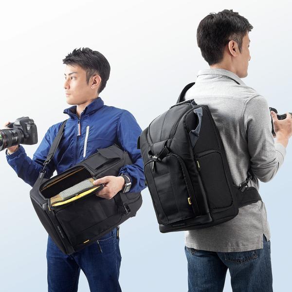 カメラバッグ 一眼レフ カメラリュック 収納 リュック PC対応(即納) sanwadirect 08