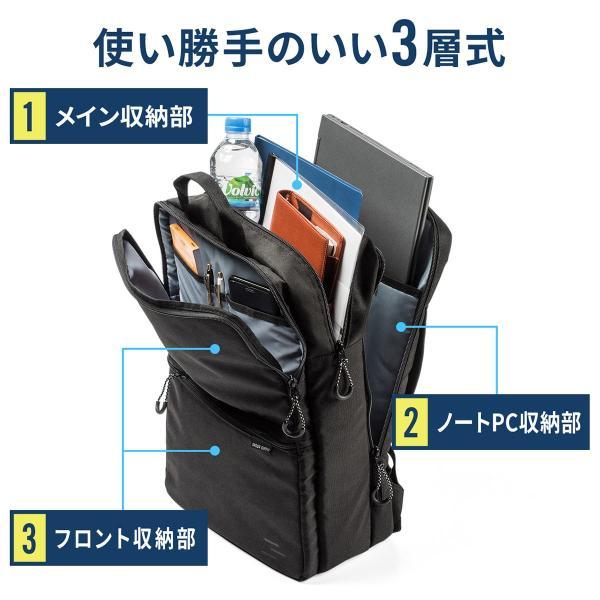 f2b744d99bb6 ... ビジネスリュック メンズ リュック ビジネスバッグ 大容量 薄型 軽量 リュックサック 3層式 スリム ...